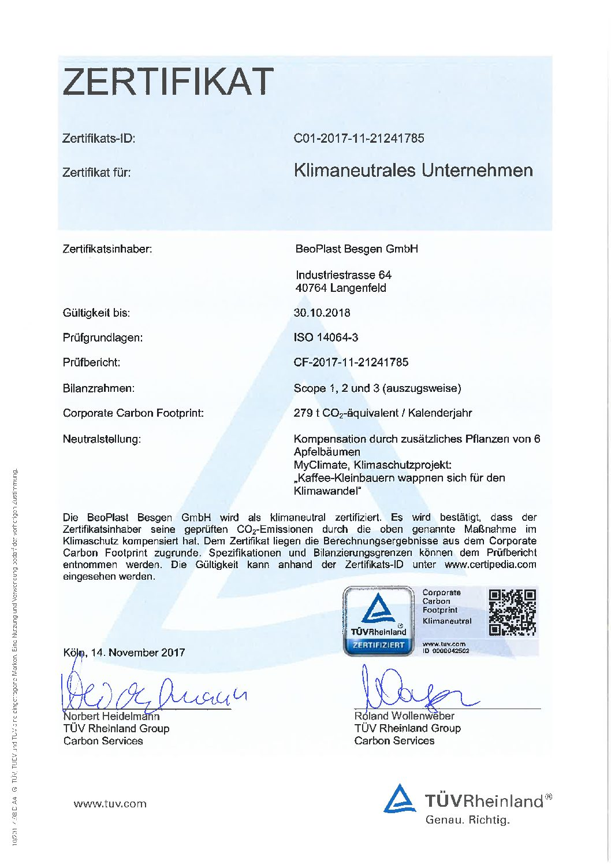 Zertifikat Klimaneutrales Unternehmen
