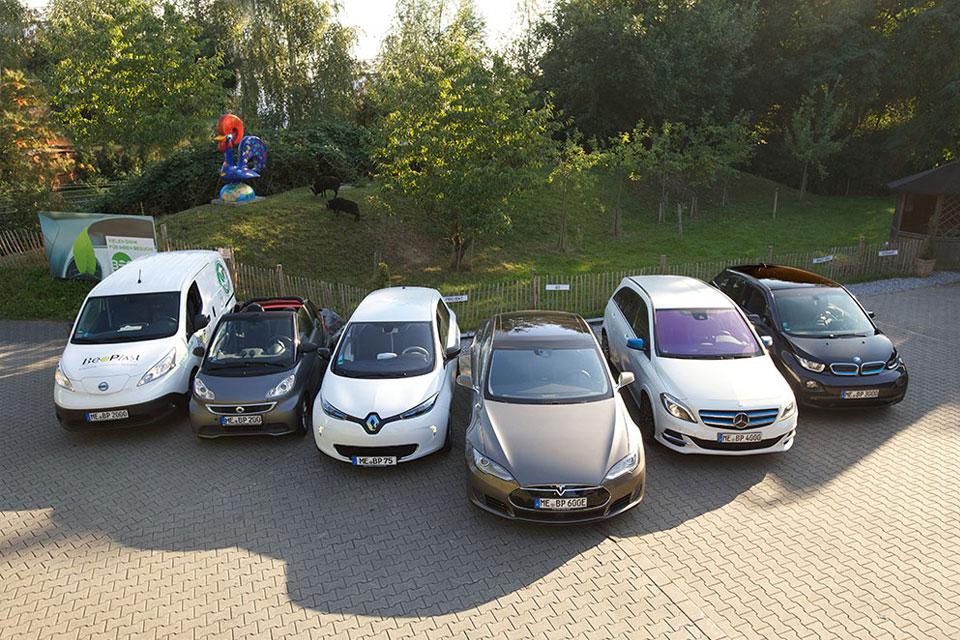 6 Mal unter Strom: Die E-Mobil-Flotte von BeoPlast. Im Hintergrund grasen Mr. Musk und Herr von Carlowitz