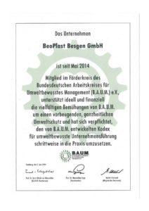 B.A.U.M. EV - Urkunde